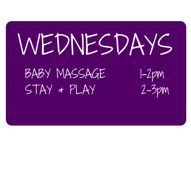 Baby Massage & Yoga class times Wednesdays